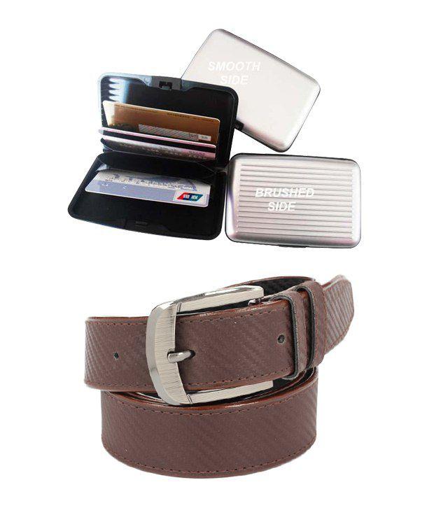 ZION Men's Exclusive Brown Belt With Card Wallet