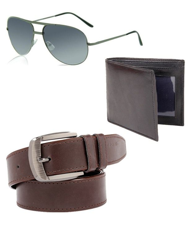ZION Men's Exclusive Brown Belt Wallet Sunglass combo