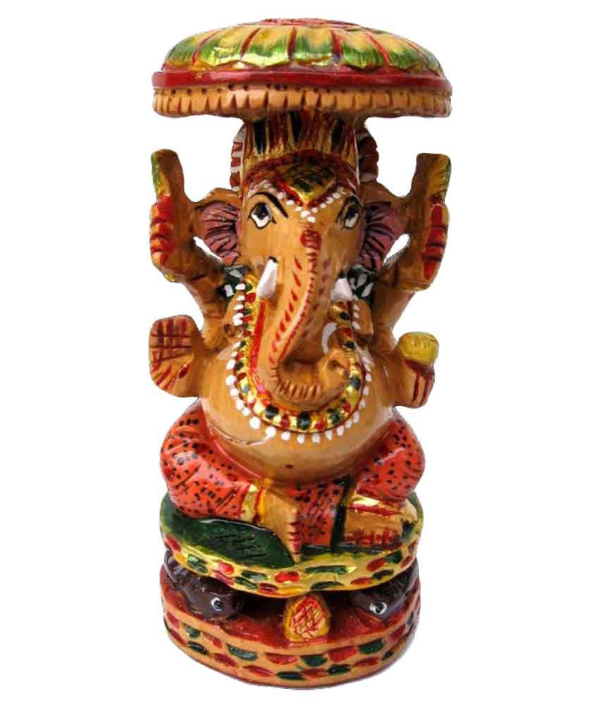 Craftsgallery Wooden Ganesha Chattar Carved Painted Sculpture Home Decor Figurine 5 Inch Buy