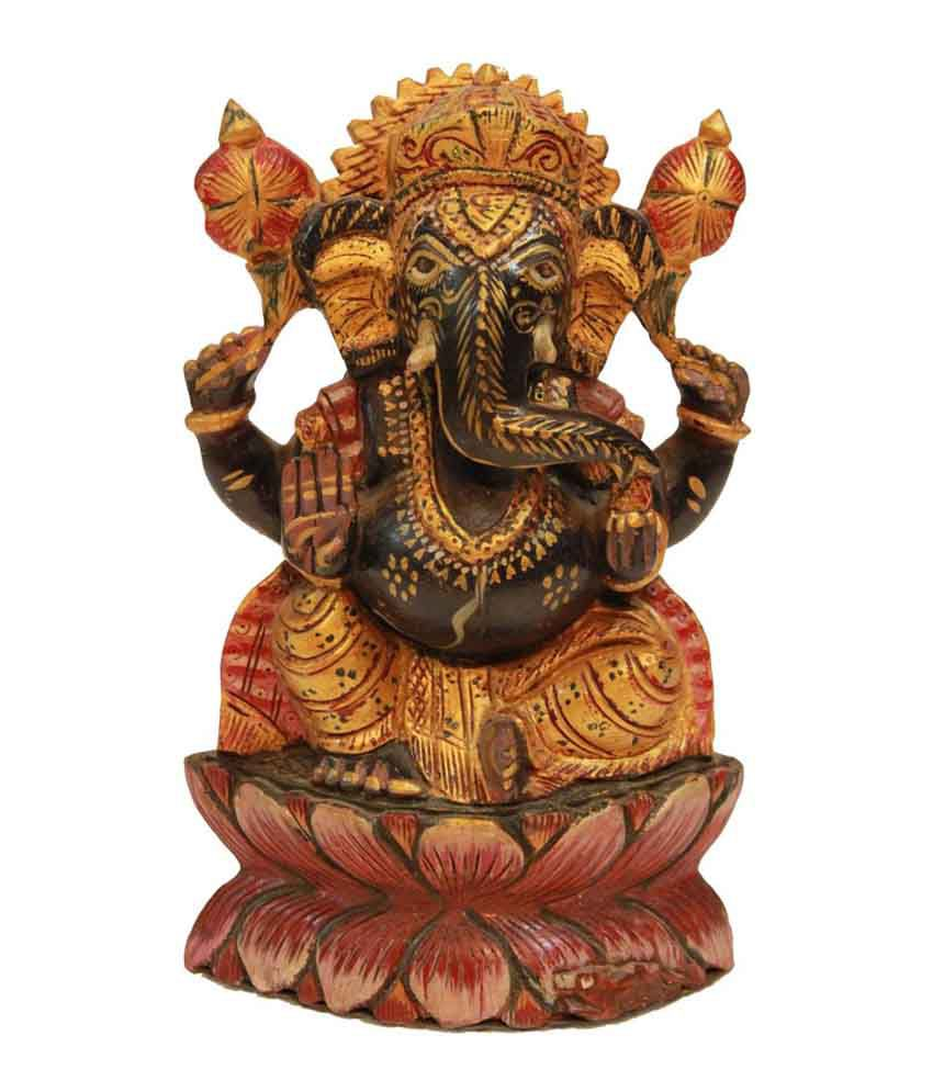 Craftsgallery Wooden Ganesha Sculpture Home Decor Carved Figurine 8 Inch Buy Craftsgallery