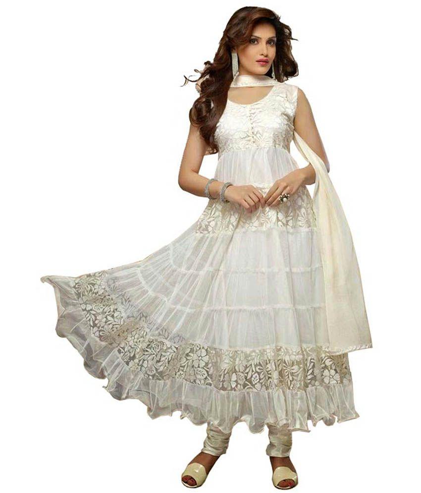 Lavis White Brasso Semi Stitched Dress Material