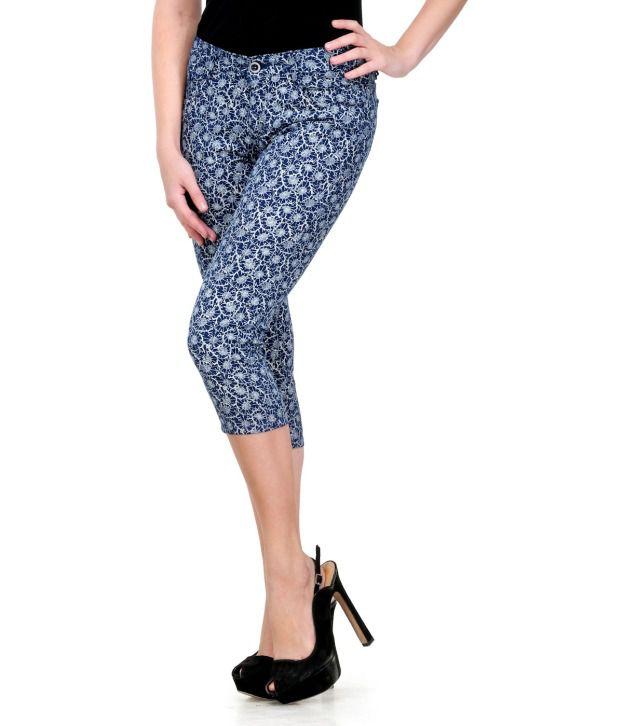 Fashion Cult Blue Cotton Lycra Capris