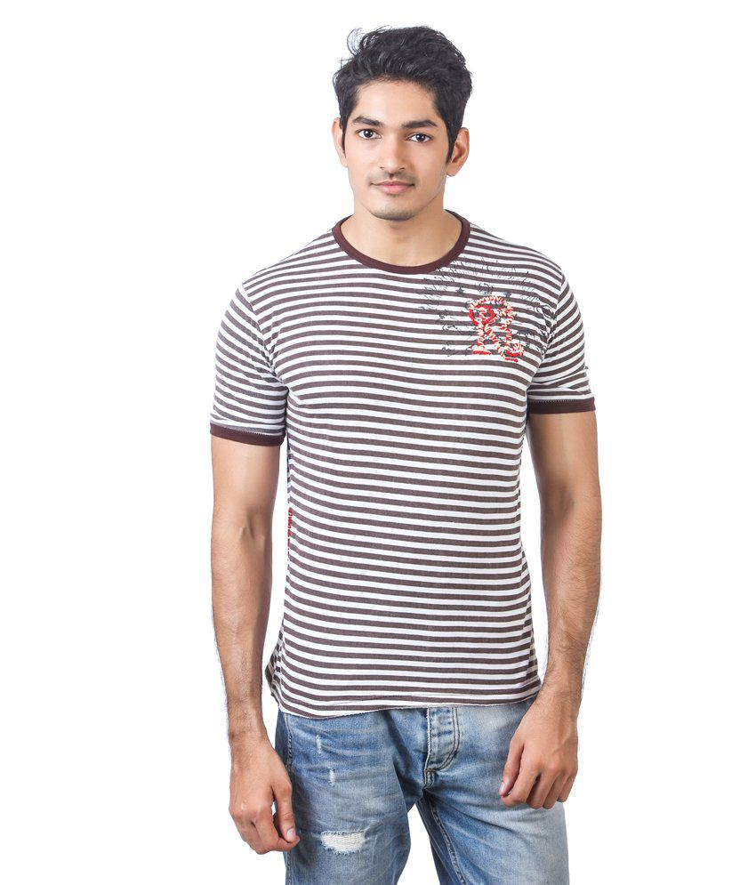 Kaporal Folding Round Neck Stripes Brown T- Shirt
