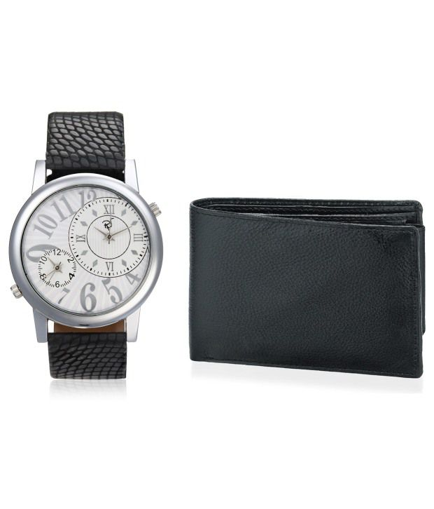Rico Sordi RICO SORDI Mens Black Multifunctional Dual Time Leather Watch with Wallet Combo