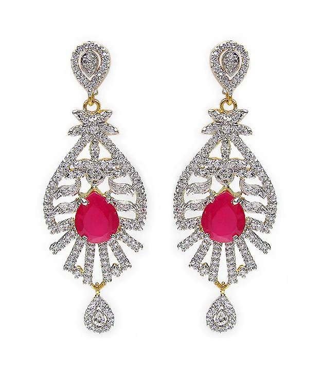 17.20 Grams Red Glass & White Cubic Zircon Two Tone Plated Brass Earrings