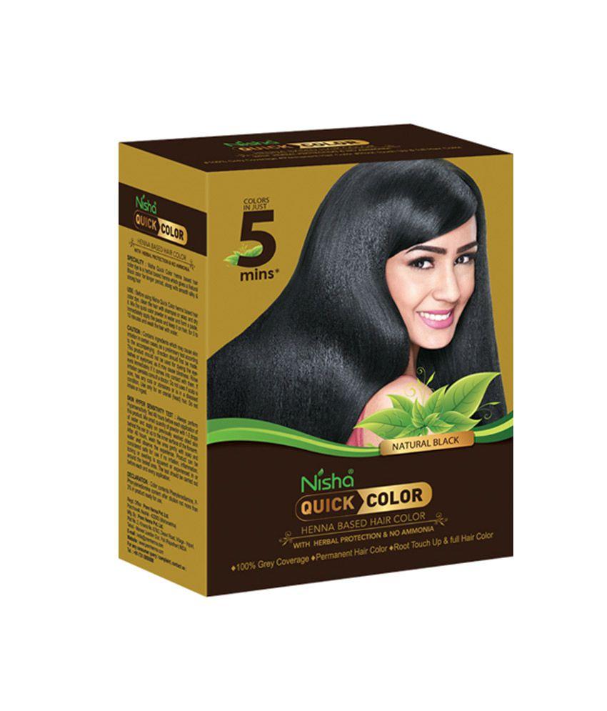 Nisha Nisha Quick Color Temporary Hair Color Black Black 1 gm: Buy ...
