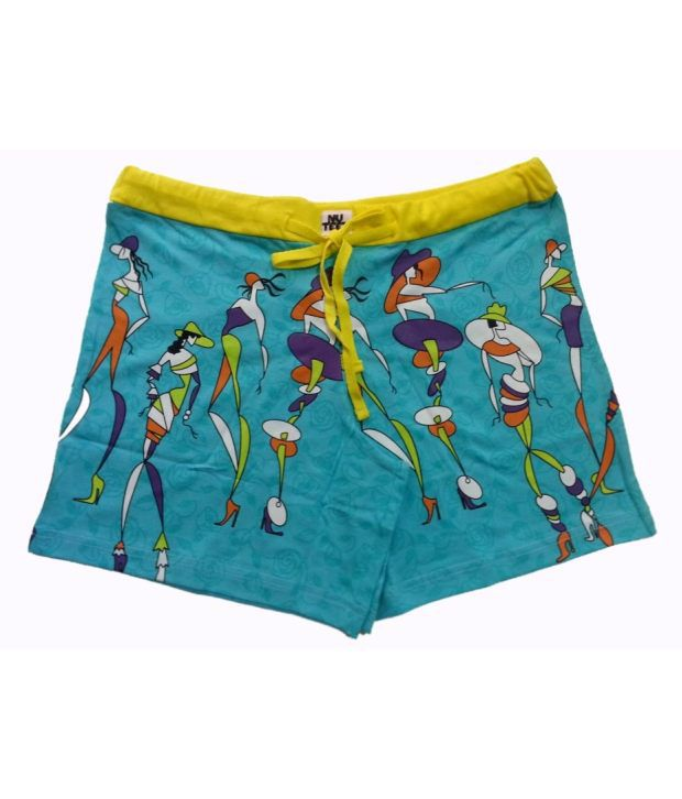 Nuteez Blue Cotton Shorts
