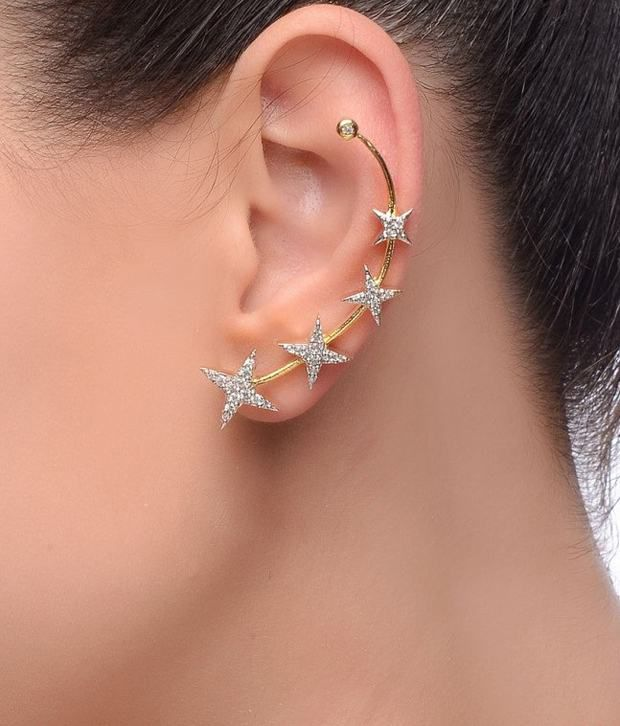 Star Cz Earring Cuffs By Prisha