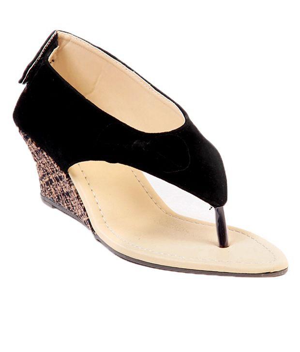 Ten Dutch Heel Black Wedge Sandals
