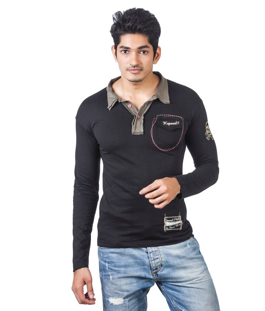 Kaporal full sleeve black colour polo t shirt with light for Full black t shirt