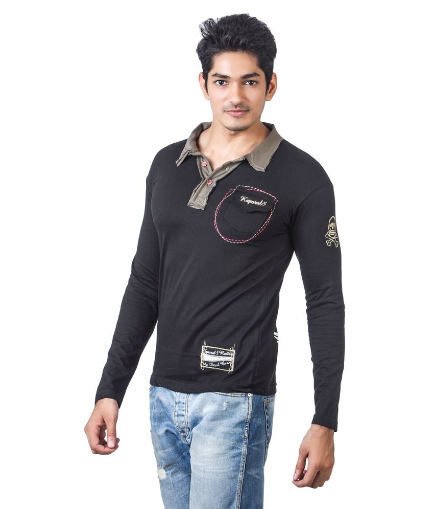 Black t shirt full sleeve with collar -  Kaporal Full Sleeve Black Colour Polo T Shirt With Light Green Collar