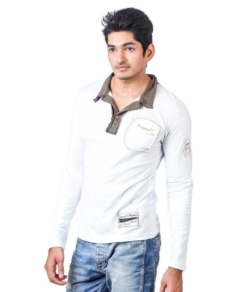 T shirt white colour -  Kaporal Full Sleeve White Colour Polo T Shirt With Green Collar
