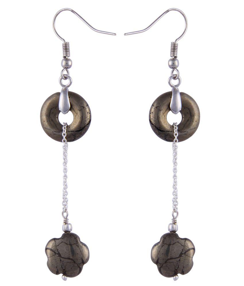 Pearlz Ocean Harper 2.5 Inch Pyrite Beads Dangle Earrings
