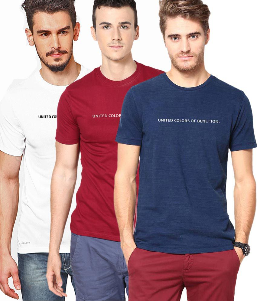 united colors of benetton pack of 3 crew neck tee buy