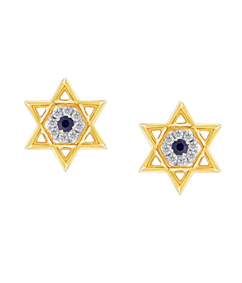 18Kt Gold Star Stud Earring With Blue Sapphire by Satyug Diamond Jewellery