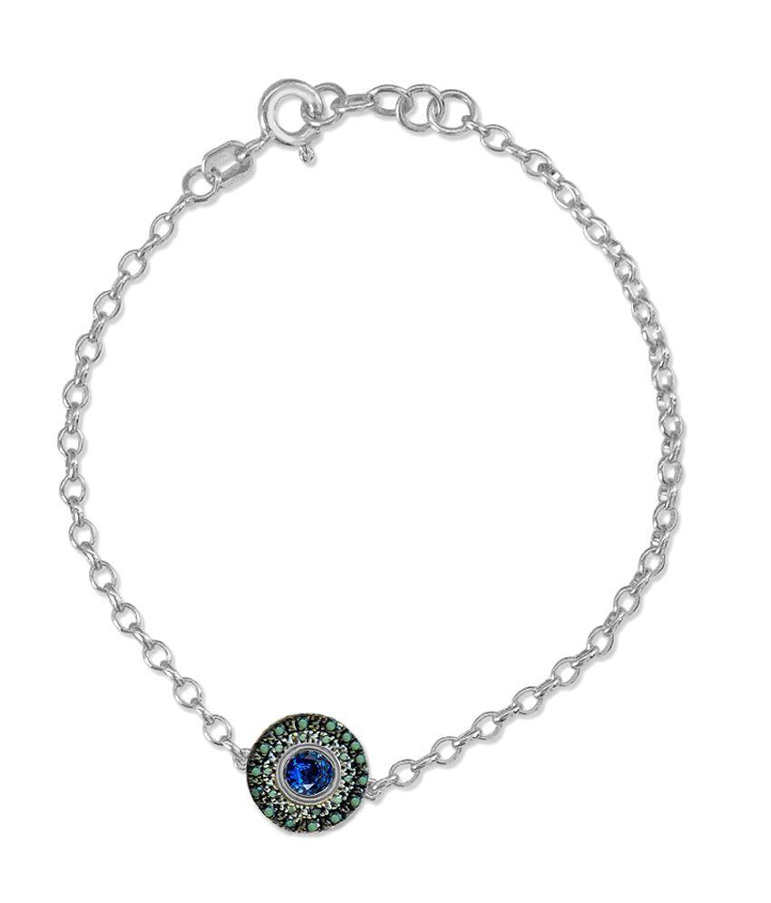 925 Silver Evil Eye Chain Diamond Bracelet By Satyug Jewellery