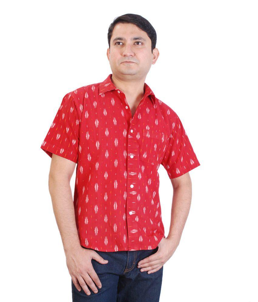 Viniyog Hand Woven Cotton Red Ikat Weave Shirt