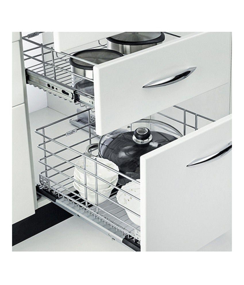 zansaar exclusives stainless steel plain basket kitchen cabinet rh snapdeal com