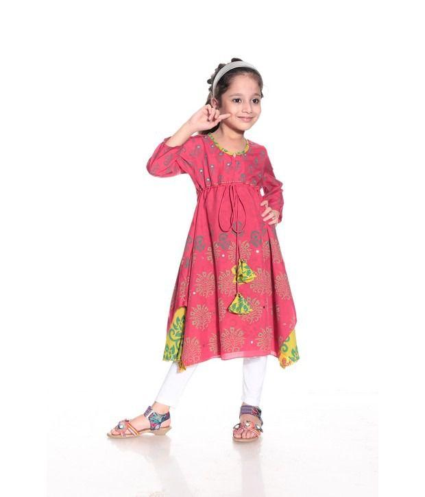 26d2677838 Biba Full Sleeves Pink Color Printed Long Kurti For Kids - Buy Biba Full  Sleeves Pink Color Printed Long Kurti For Kids Online at Low Price -  Snapdeal