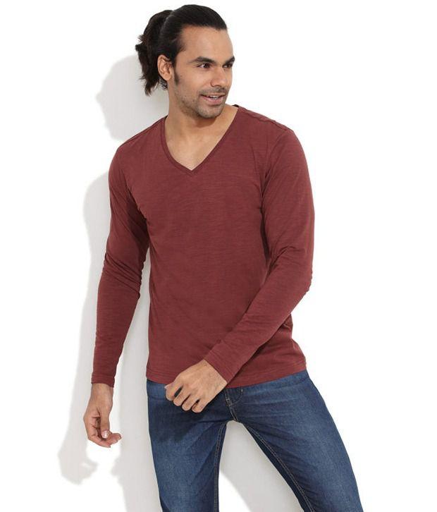 Freecultr Brown Cotton T-shirt