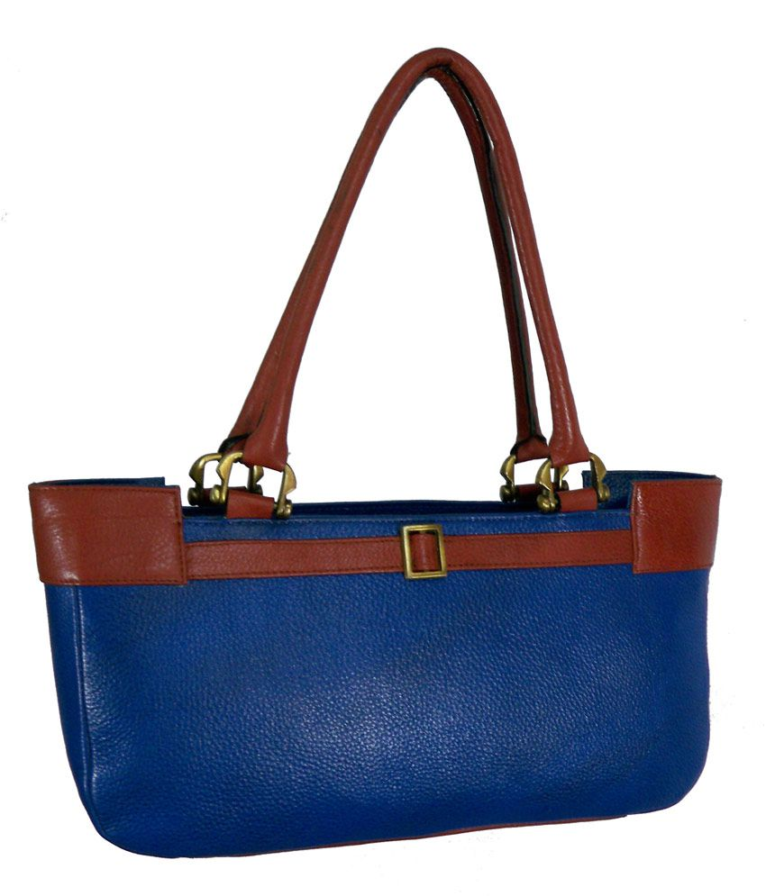 Zifana Blue Leather Satchel Women's Handbag