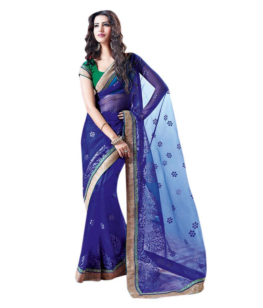 Colors Fashion Delightful Blue Soft Net Latest Designer Party Wear Rich Work Saree