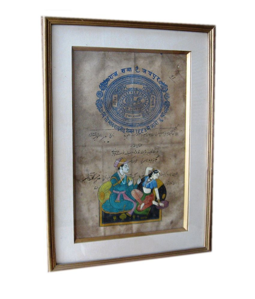 Icb Mugal King Queen Painting On Old Stamp