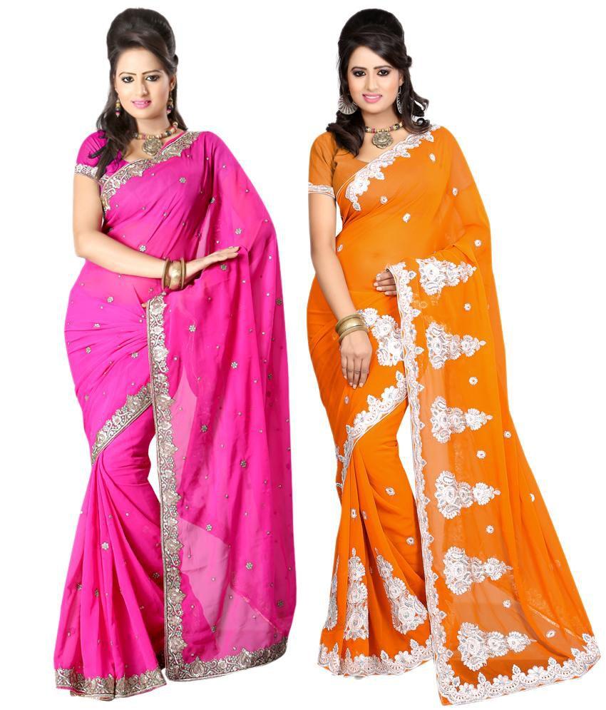 Sanju Sarees Wonderful Multi Colour Pack Of 2 Faux Georgette Sarees