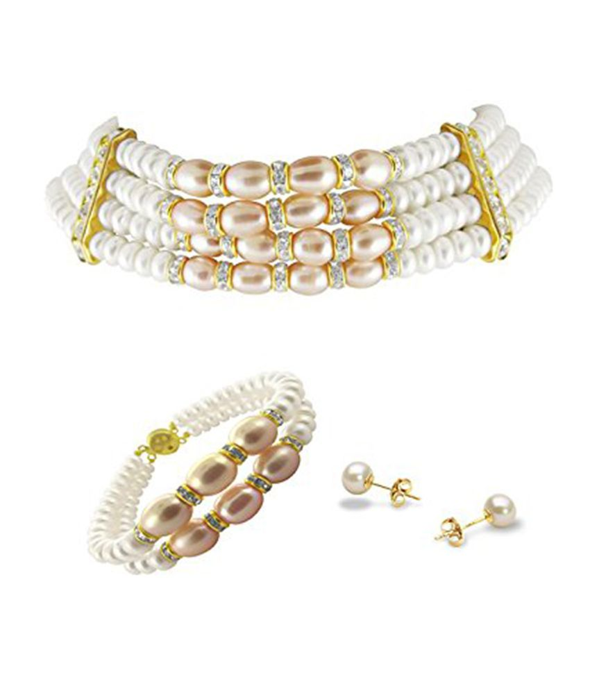 White & Peach 4 Line Choker Hyderabadi Pearls Necklace with Matching Bracelet and earrings