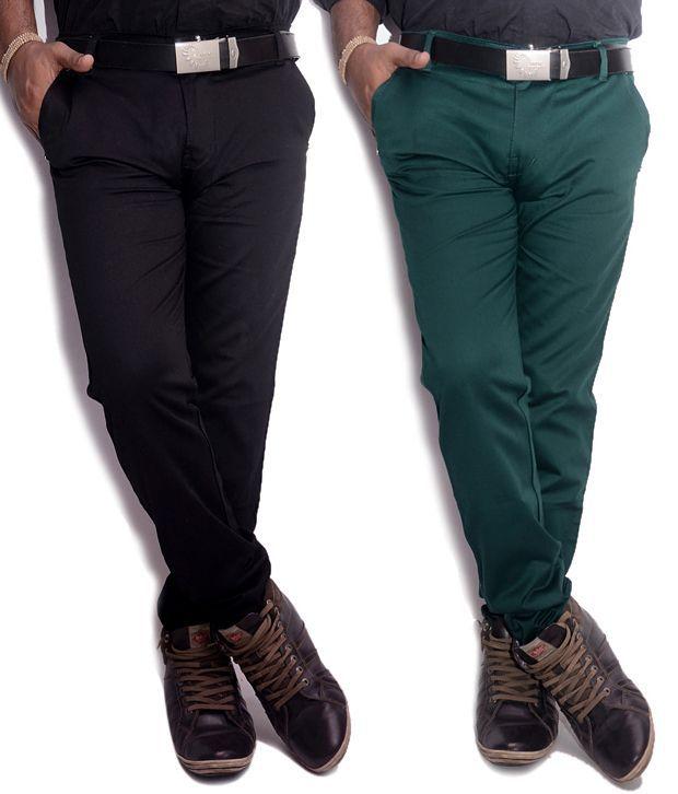 VAM Jeans Green & Black Cotton Chinos