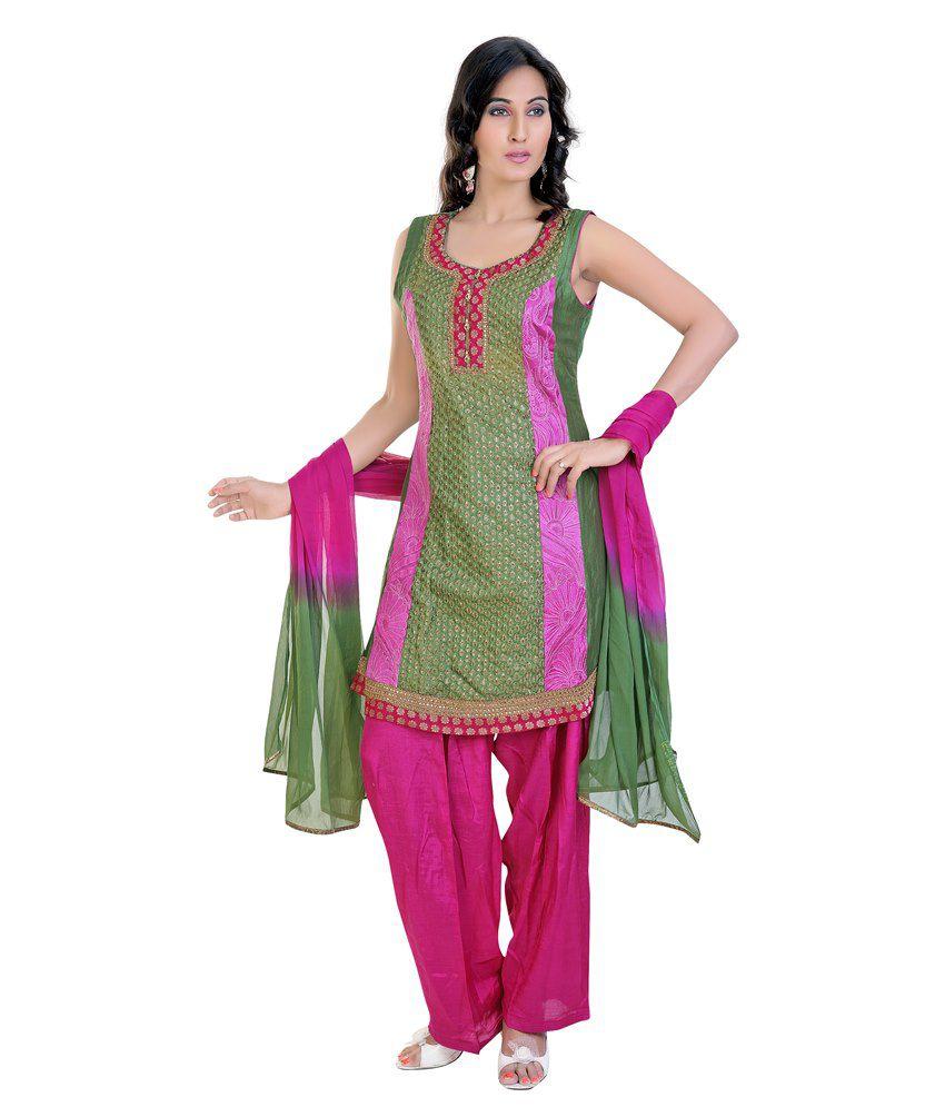 Mint Purple Silk Salwar Suit