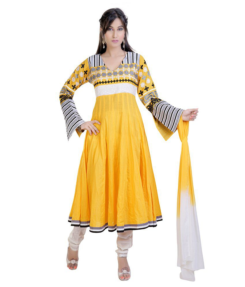 Mint Yellow Cotton Anarkali