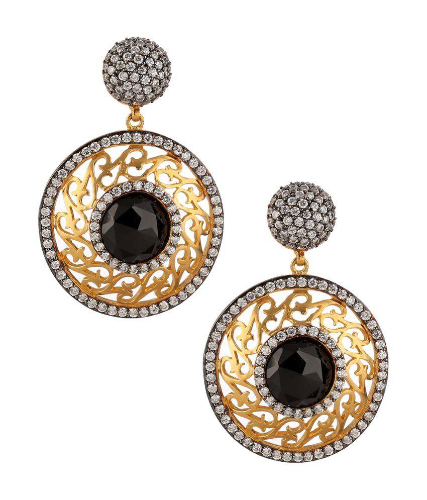 Ceeam's Cz Diamond Studed With Black Gemstone Earrings_ecz4028
