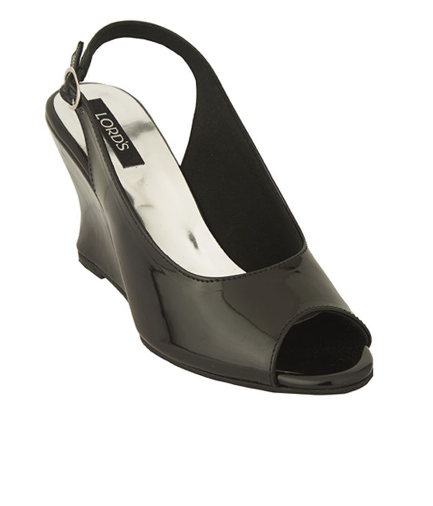 Lord's Black Wedges Sandals