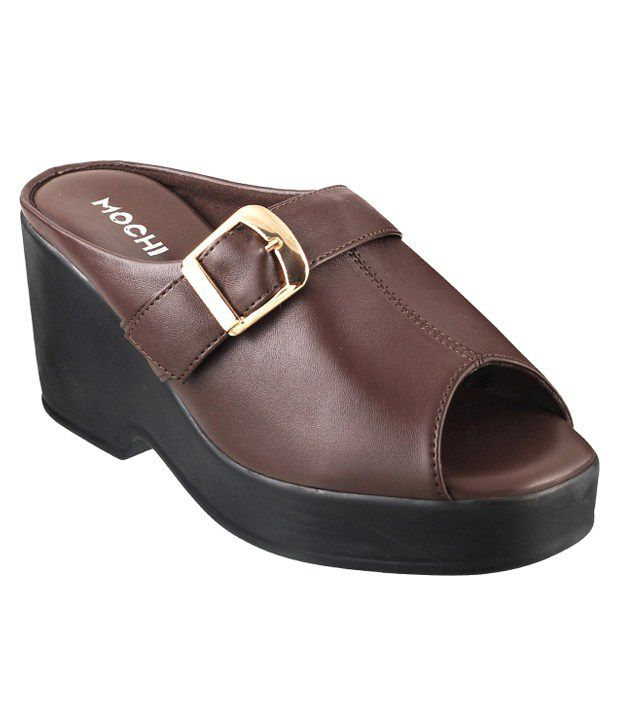 Mochi Brown Wedges Heeled Slip-On