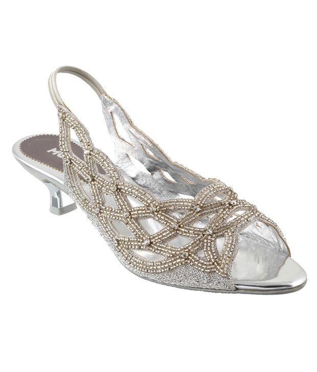 Mochi Silver Heeled Sandals