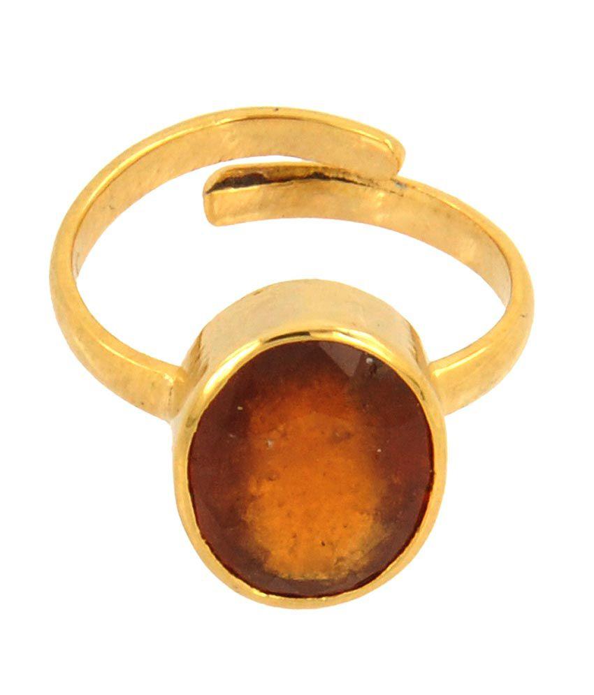 Barishh Barish Gems 6.25ct Rahuranta Hessonite Gomed Adjustable Ring