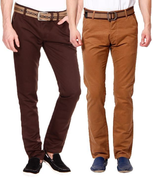 SF Brown Regular Casuals Combo Of 2 Chinos