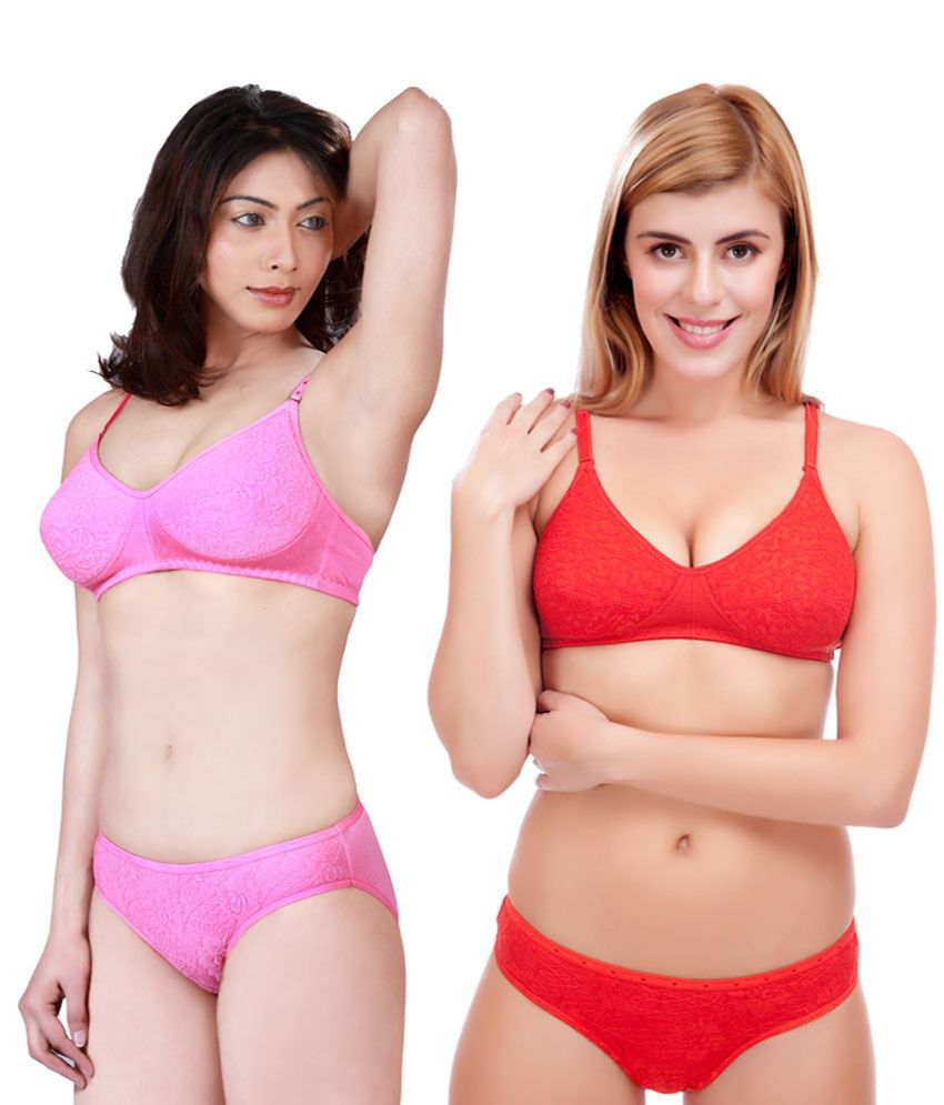 daffe39f5292 Buy Selfcare Multi Color Bra & Panty Sets Pack of 2 Online at Best Prices  in India - Snapdeal