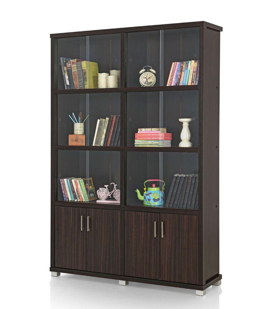 Royaloak Twin Bookshelf Sliding Doors With Dark Finish