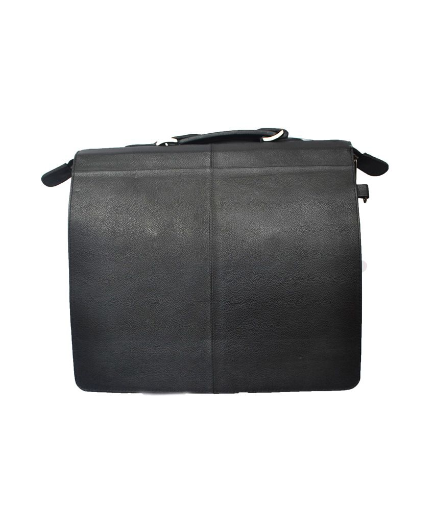 a3518067673 Modish Unisex Genuine Leather Laptop Bag - Black - Buy Modish Unisex  Genuine Leather Laptop Bag - Black Online at Low Price - Snapdeal