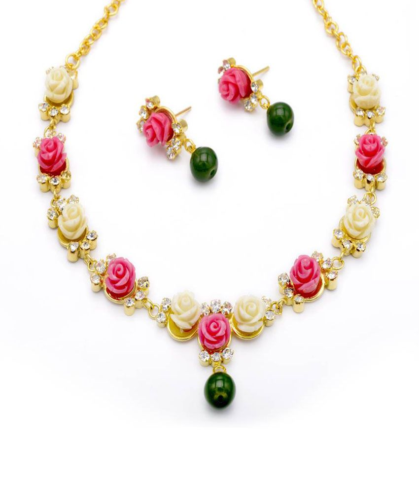 Beautiful Flower Coral Necklace Set With Earrings Pink