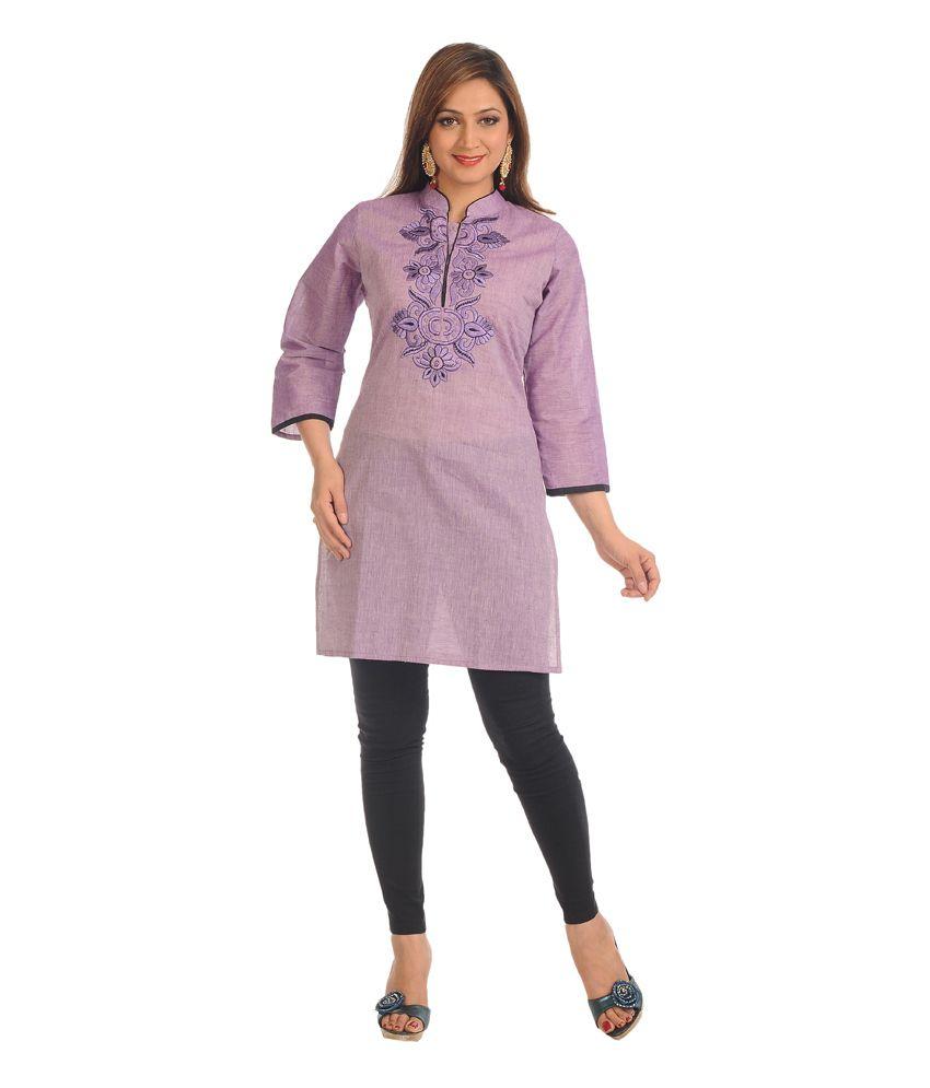 Salwar Studio Lavender Cotton 3/4th Sleeves Medium Kurti