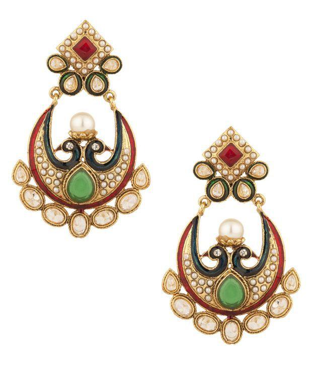 Voylla Festive Dangler Earrings Encrusted With CZ Stones