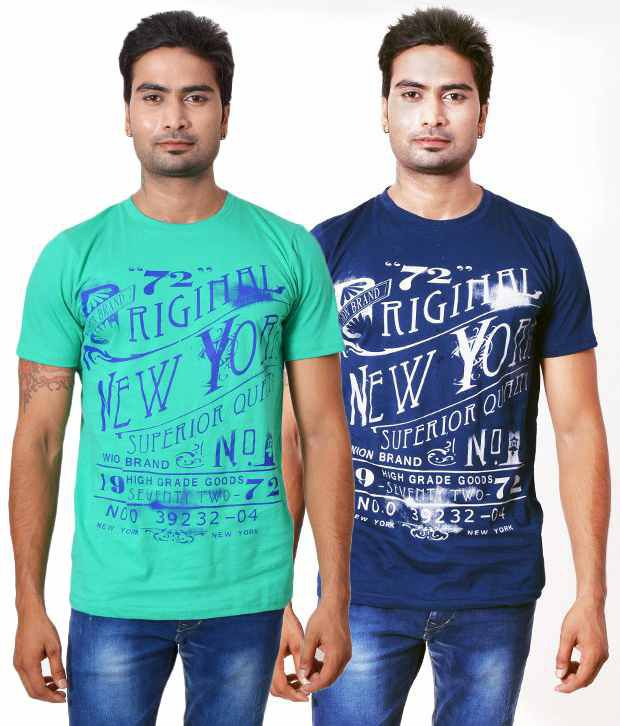 Fabulook Blue Cotton T-shirt (combo Of 2)