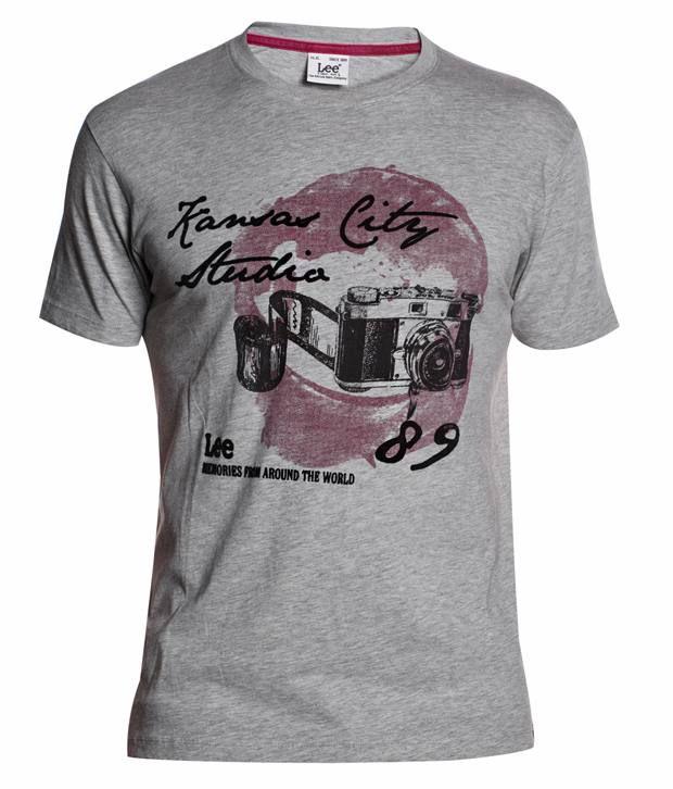 Lee Gray Cotton T-shirt