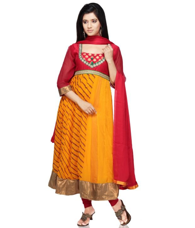 Utsav Fashion Orange Embroidered Pure Georgette Stitched Regular Fit  Salwar Suit