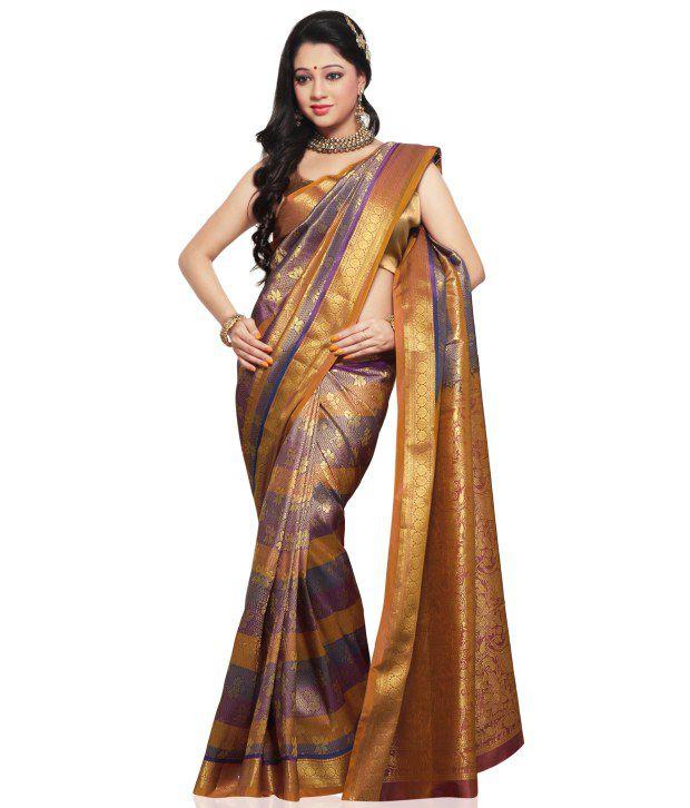 Utsav Fashion Purple Embroidered Art Silk  Saree