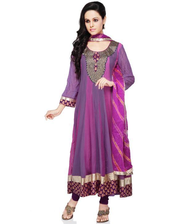Utsav Fashion Purple Embroidered Pure Georgette Stitched Regular Fit  Salwar Suit