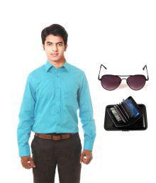 Arrow Cyan Shirt With Elligator Sunglass & Card Holder